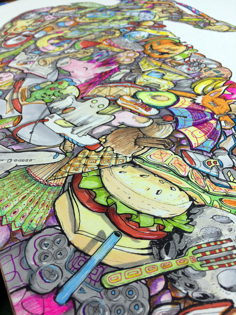 Close up of artwork showing a bright happy psychedelic imaginative dreamscape