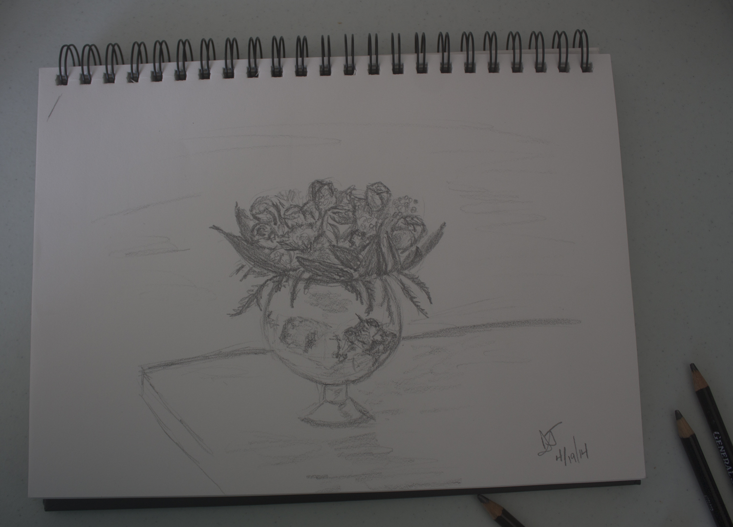 My sketch of a mixed bouquet featuring roses.