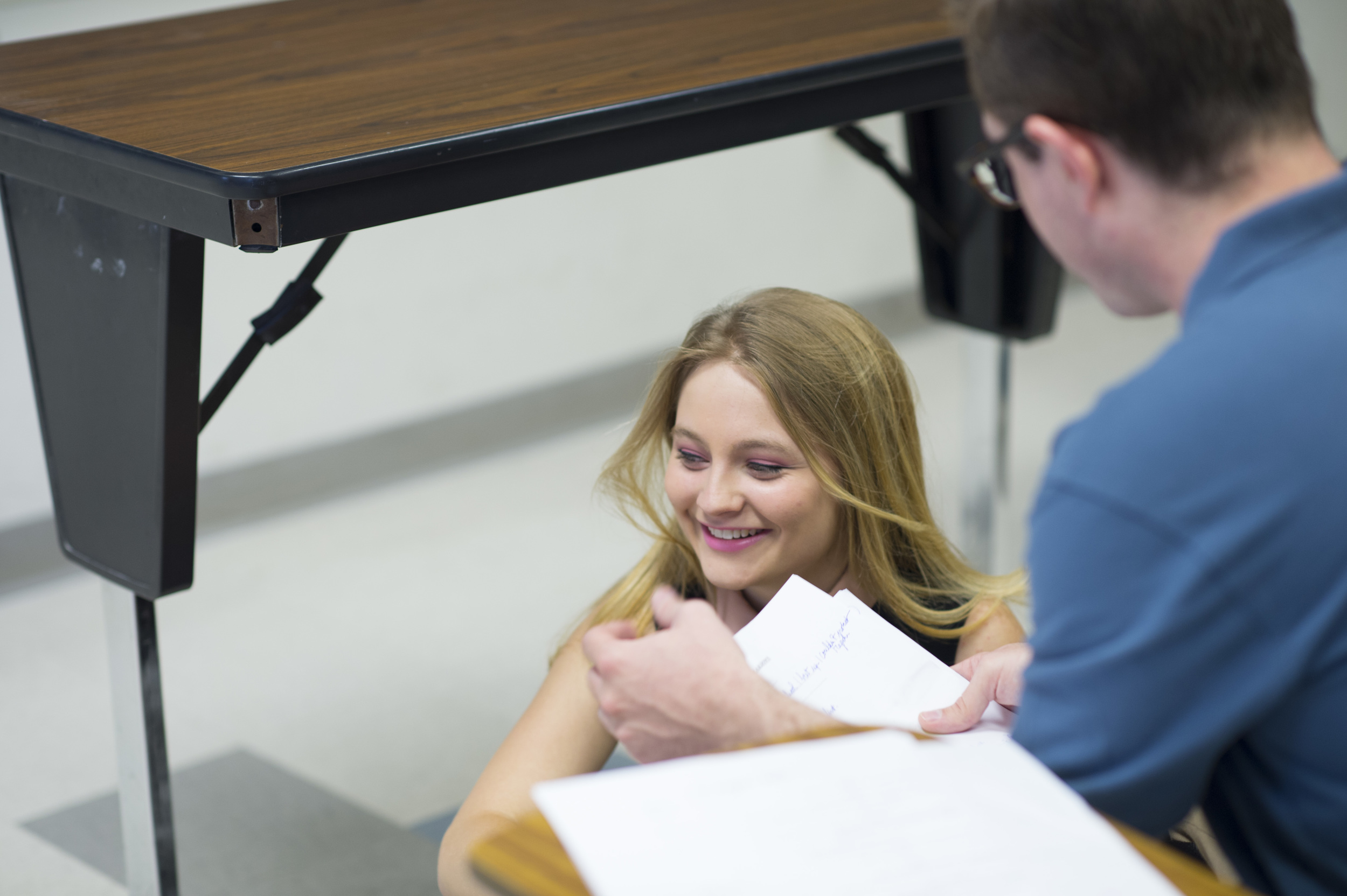 Lead actress Jayna Sweet (Emily) and director Benjamin Walter work on her character.