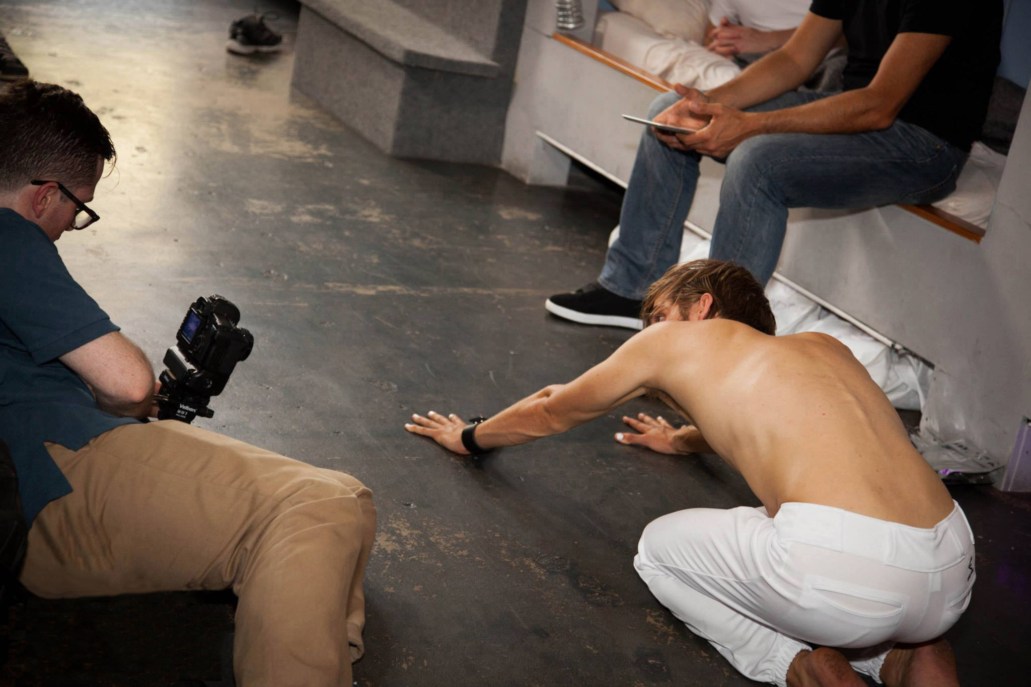 Director/DP Benjamin Walter blocks a scene with actor Julian Brand (Brad).