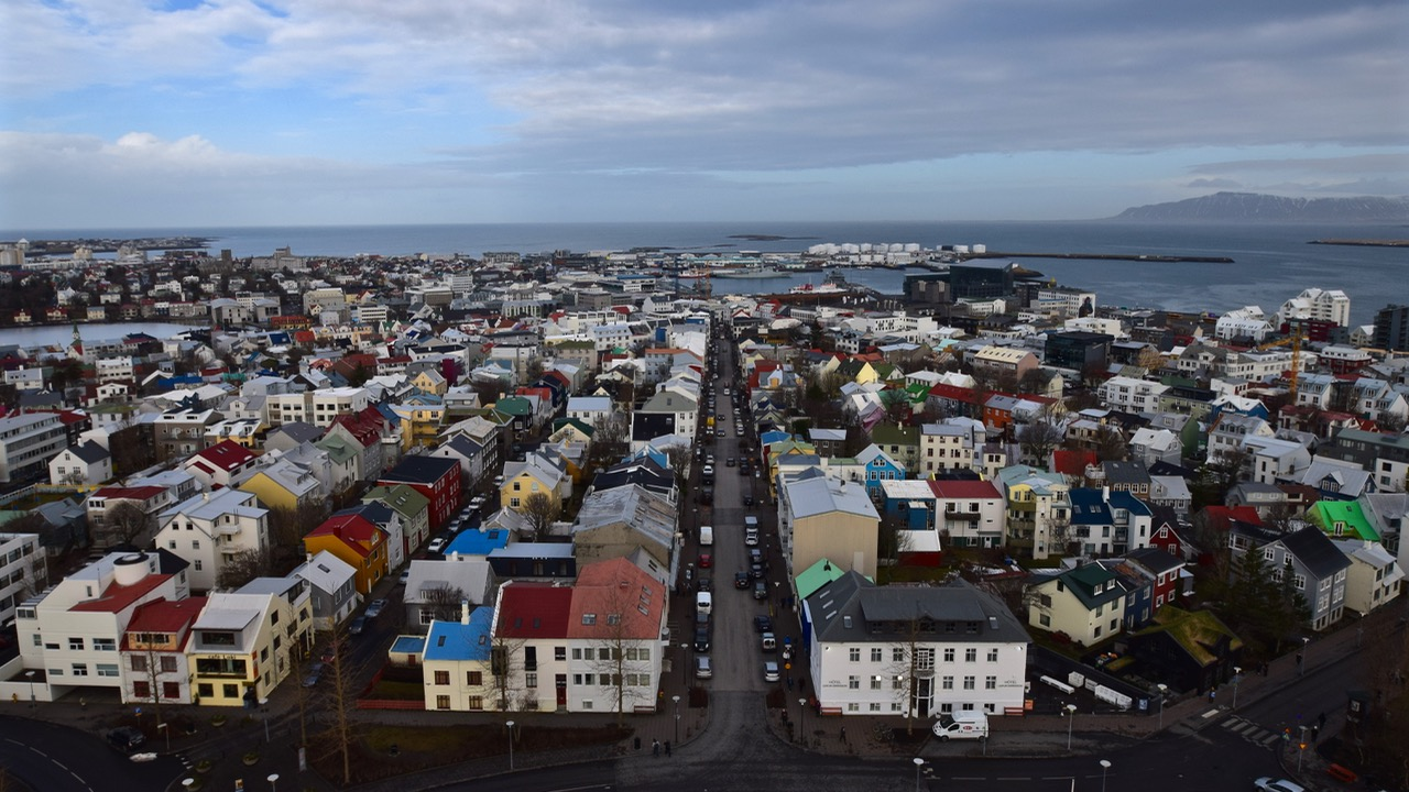 View of downtown Reykjavik from the top of the Hallgrimskirkja Cathedral