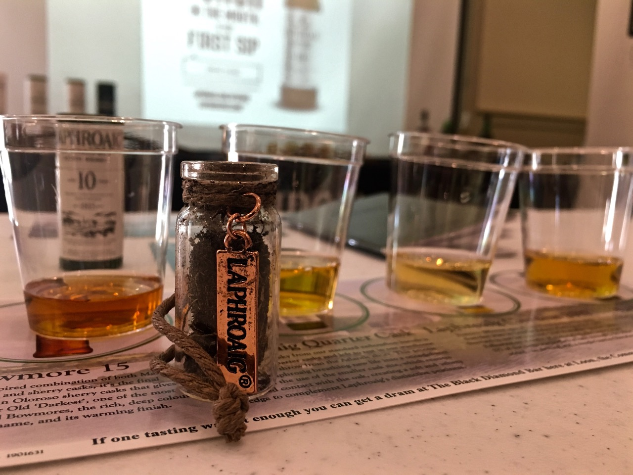 The tasting at this year's NH Highland Games was kicked off with the Bowmore 15 followed by Laphoraig's Quarter Cask, 2017 Cairdeas and Lore bottlings. A very tasty lineup!
