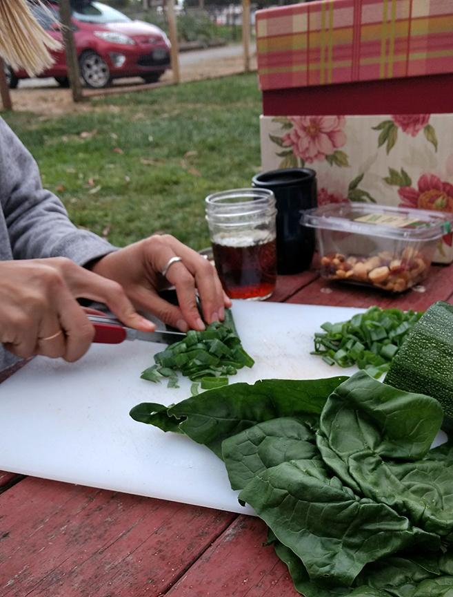 making dinner with the garden veggies