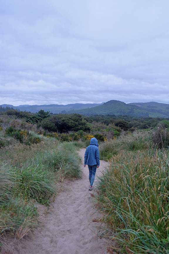 It's be raining for about a week now. Walking at Honeyman Beach