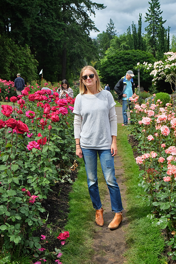 Checking out the roses in Portland at Washington Park in Portland