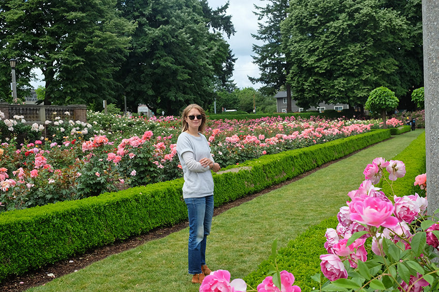 checking our more roses at Penisula Park in Portland