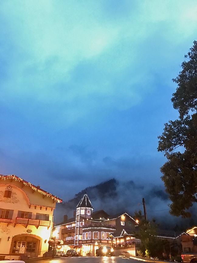 misty Leavenworth by night