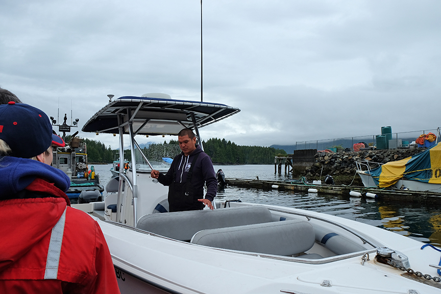 getting instructions on where to be sick while on the boat
