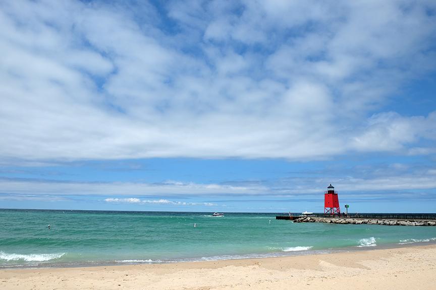 lighthouse at Lake Michigan