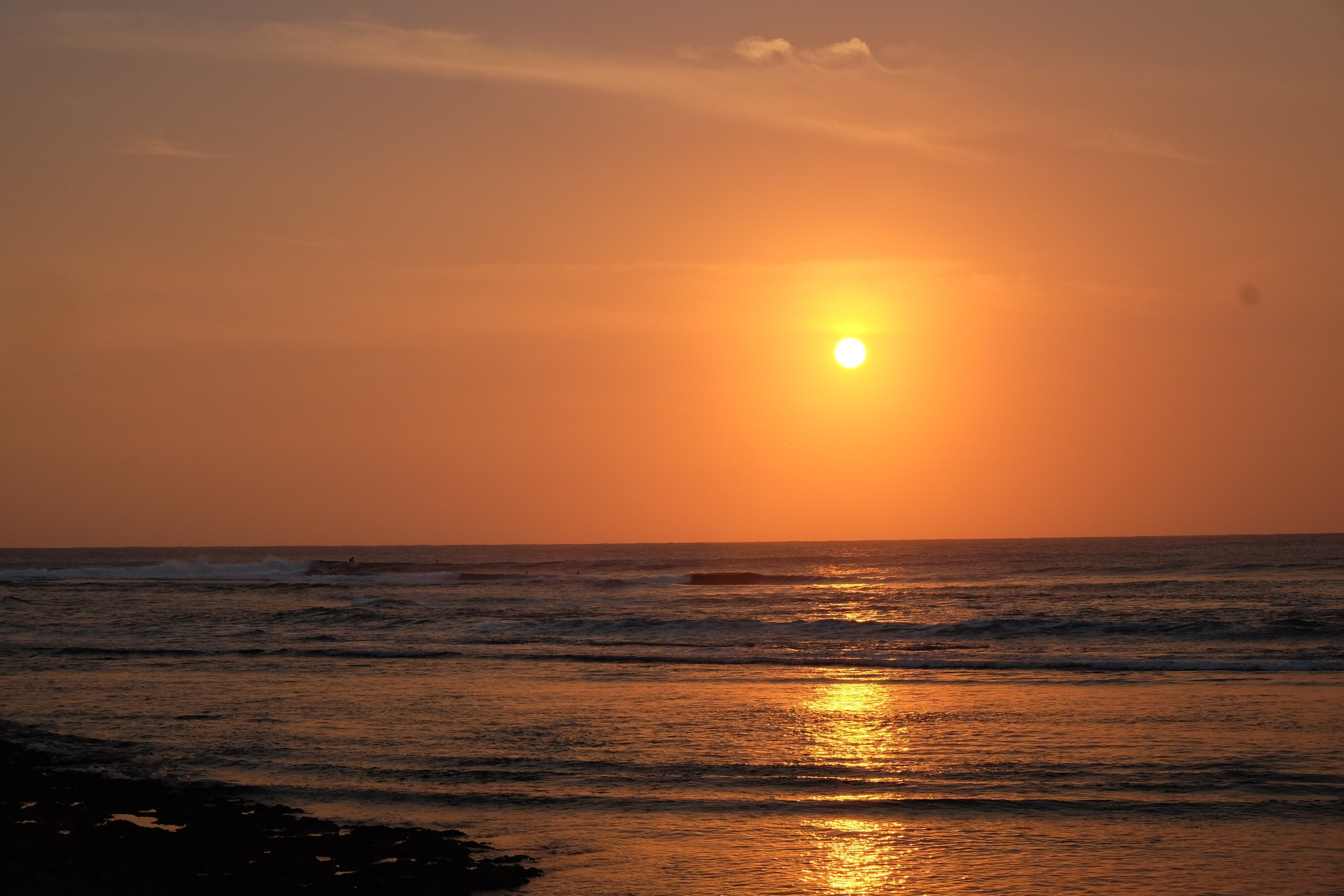 Blazing, skyfilling sunset.