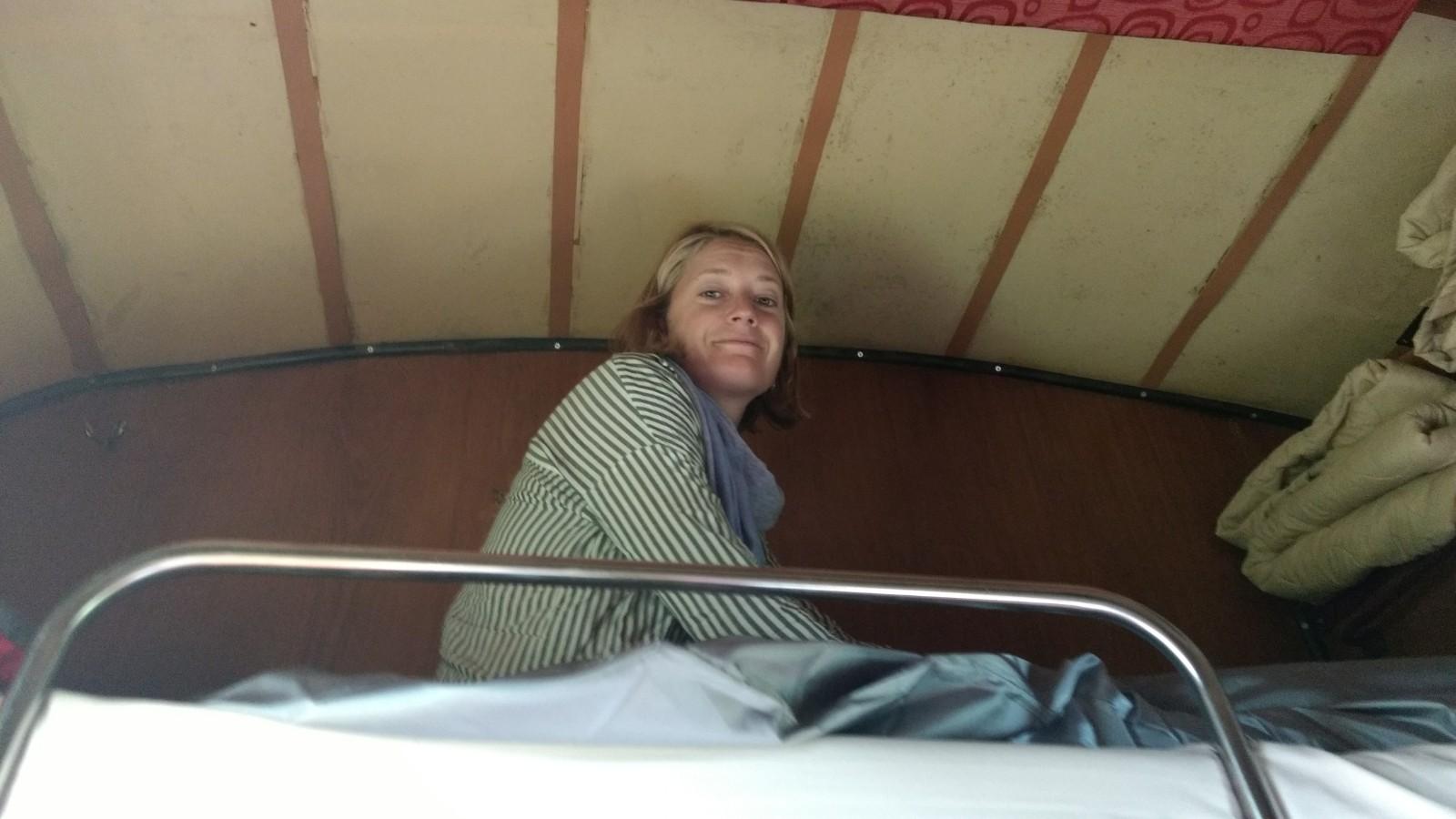 In the four berth sleeper car.