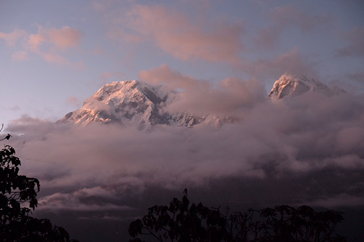 Sun setting on Annapurna the night before we would head out.