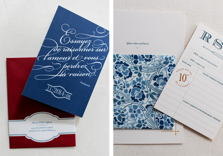 Of+Good+stock+navy+library+card+wedding+invitation