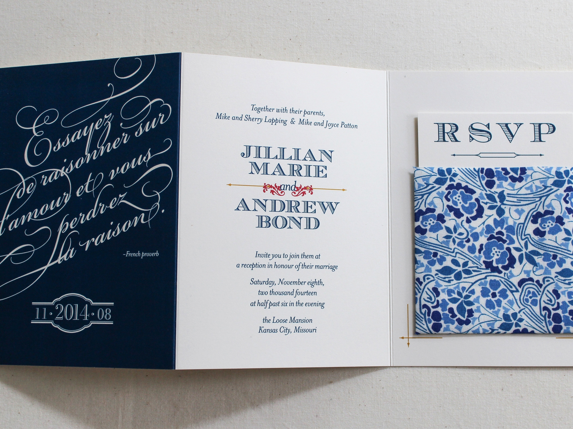 Of+Good+stock+trifold+navy+library+card+wedding+invitation