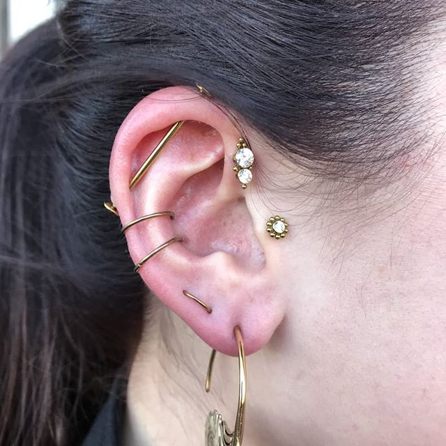 Curated ear project by @bodypiercingsbychrislucas , with a mix of fresh and healed piercings. Interested in putting together a beautiful set like this? Talk to Chris on a Wednesday or Thursday to discuss your ideas.
