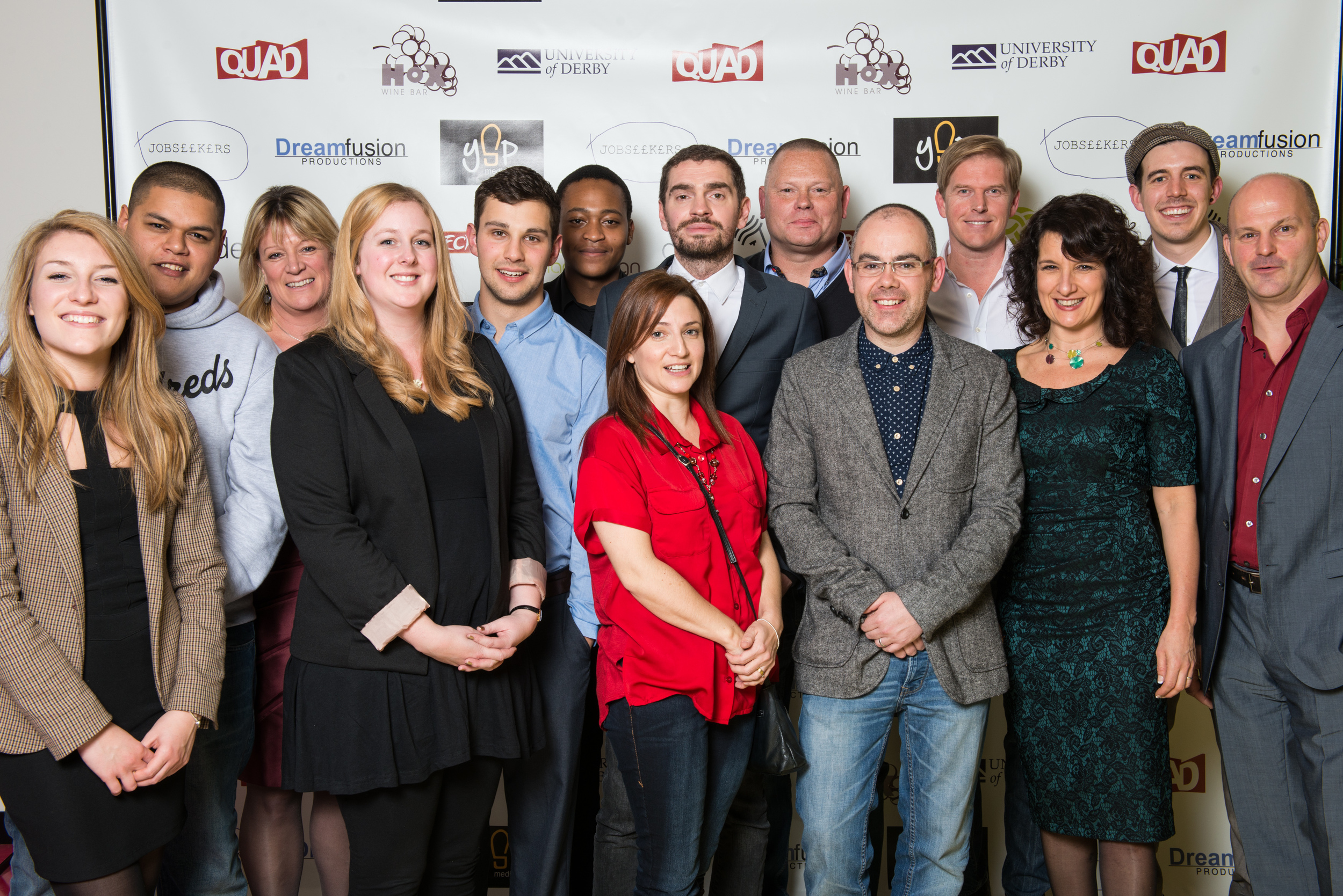 The Jobseekers Cast (From L to R): Lucy Varney, Ed Kear, Elli Mackenzie, Daisy Leverington, Adam Horvath, Khulekani Mnisi, Shelley Draper, Mark Drake, Shane Alexander, Lee Toomes, Mark Pardner, Tina Harris, Joseph Maudsley & Andy Barrow.