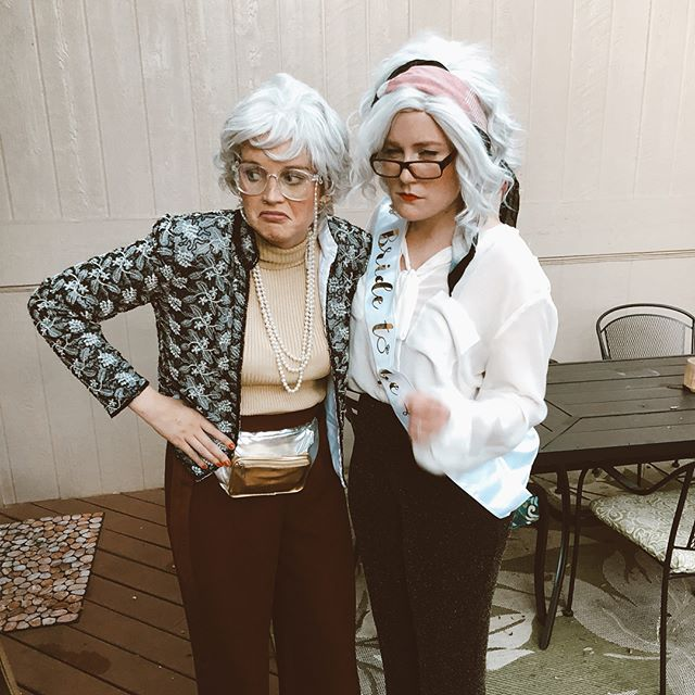 Blanch and Kitty hit the town #goldengirls style. Celebrating her 4th marriage, Harold god bless his soul. There was a lot of cheek pinching and telling the young girls to cover up and CALL YA MOTHA. #ohgodblessya #thankyouforbeingafriend #badgrannys #keepaustinweird