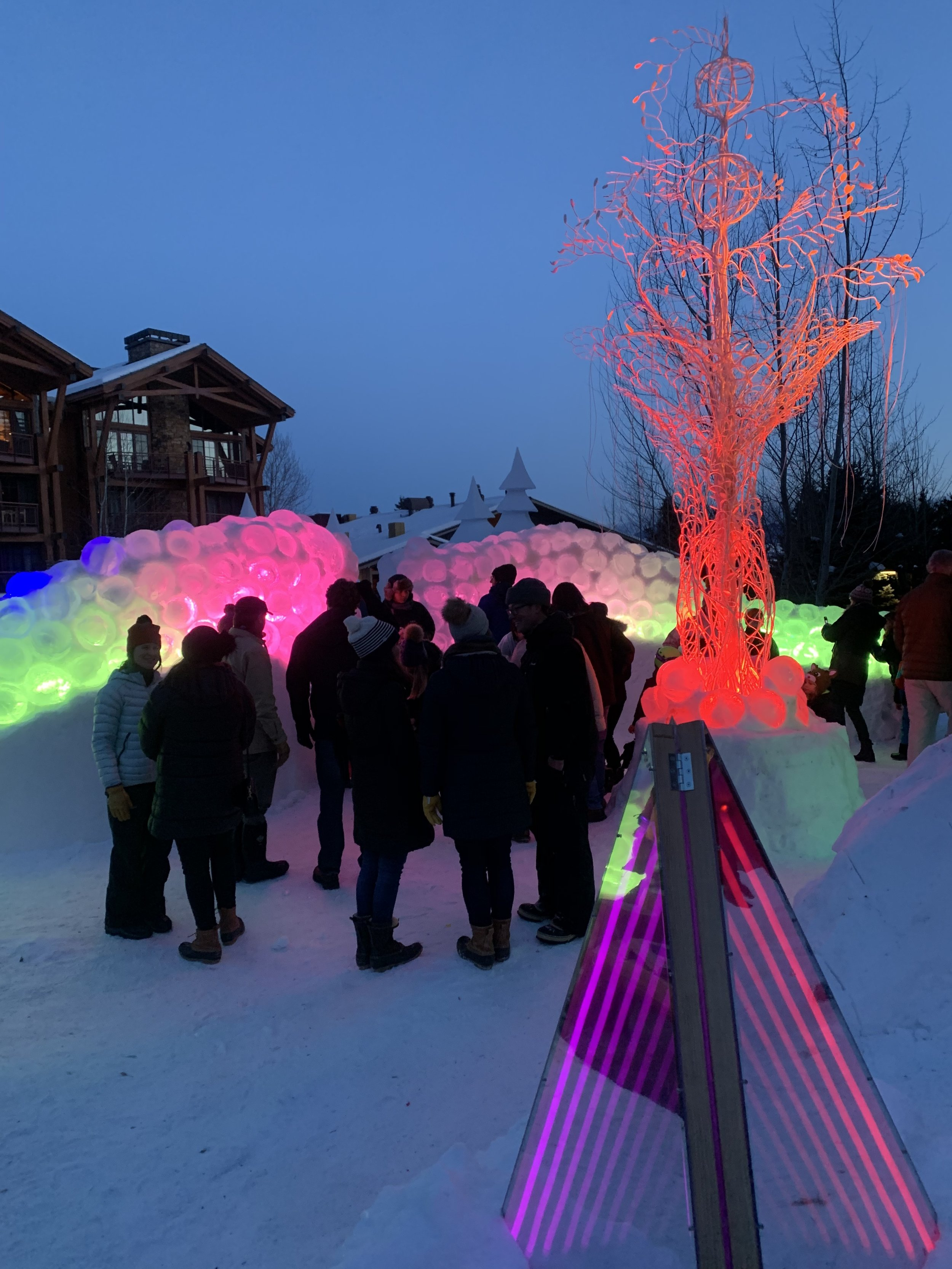 Jackson Hole, Wyoming.  Glow Nights Festival  December 2018.  Artist : Claudia Bueno, Bland Hoke, Walter Gerald  Steel, LED Light and Fiber Optics, Snow, Ice, Slush, Wood, Acrylic