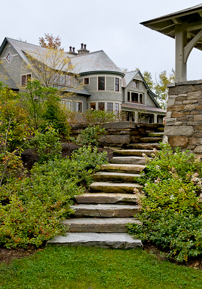 New home construction. A stone stairway and gazebo in the Upper Valley.