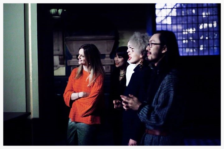 Proud faces of the team :D :D :D :D (Knitwear designer Lucinda Popp, me, Amy Heath and Sadie Clayton)