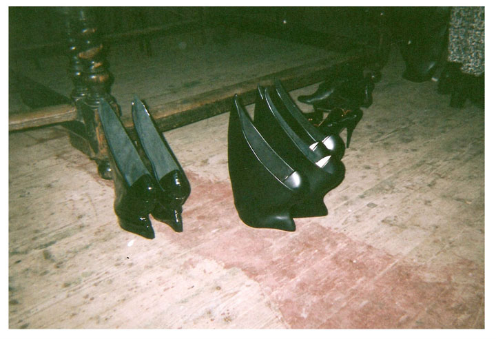 BACKSTAGE: Ready to go at London Fashion Week (AW14) - my shield shoes for Sadie Clayton's show