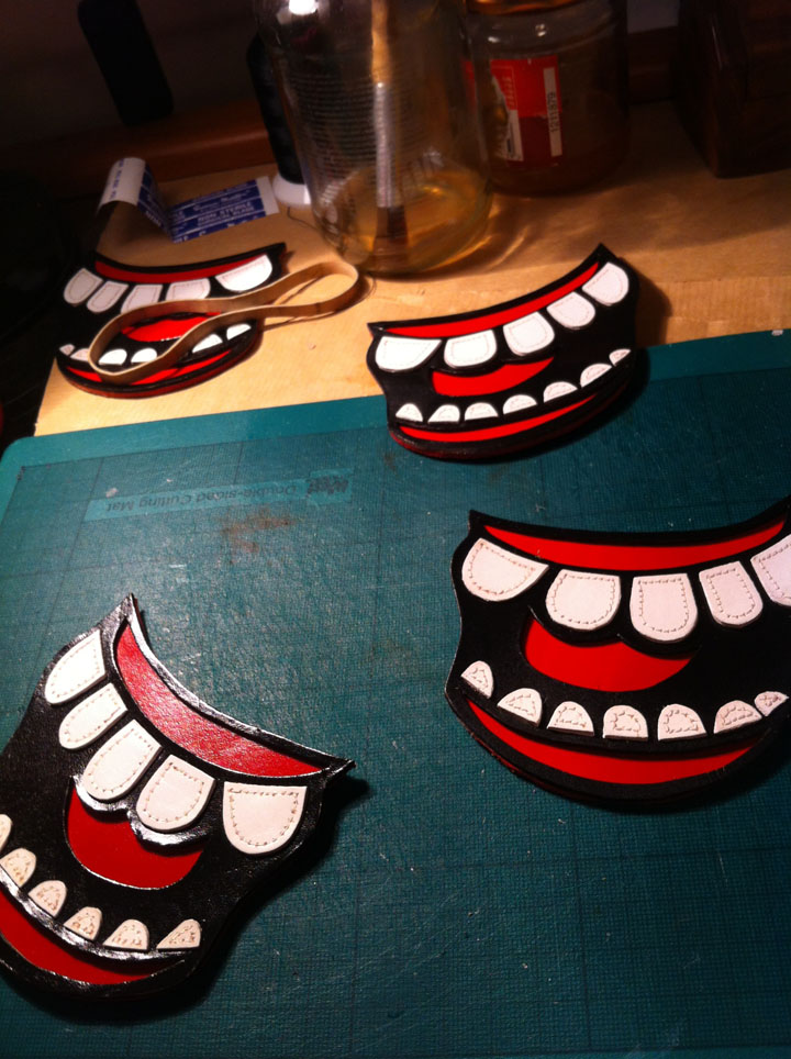 MAKING FACES :D working with the fabulously fun Aristides Vanis! :D Each tooth has been individually cut, sprayed and stitched! #labouroflove