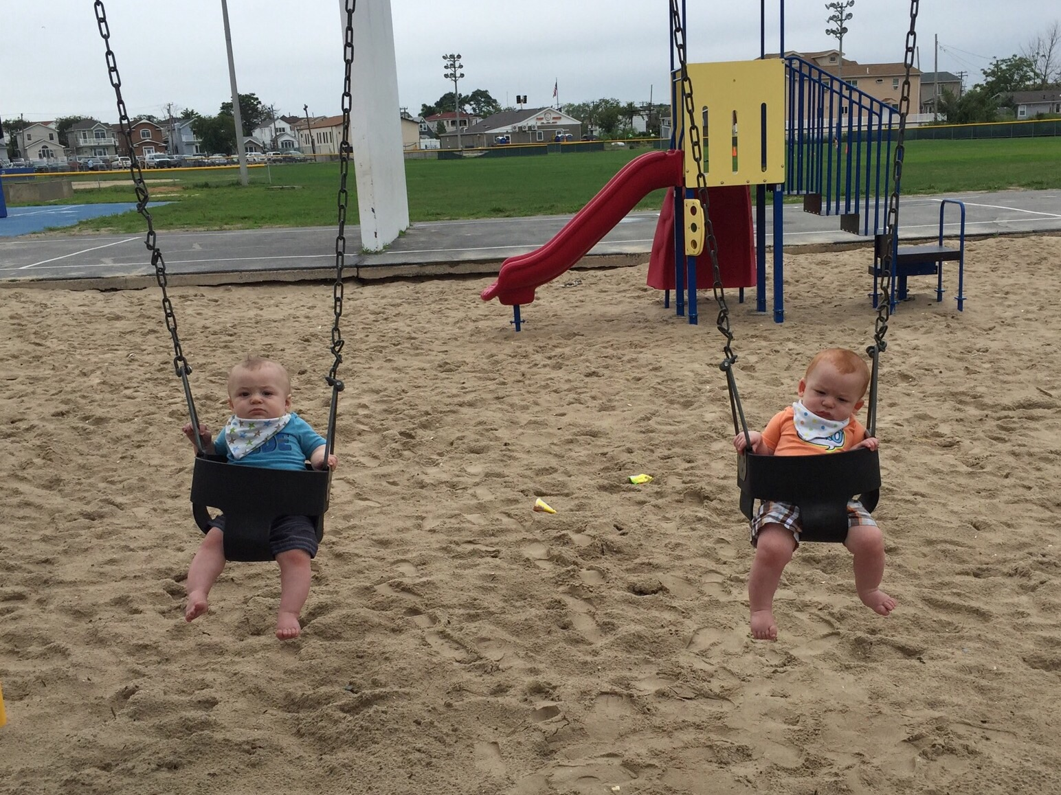 Julian and Joshua were not impressed by the swings.