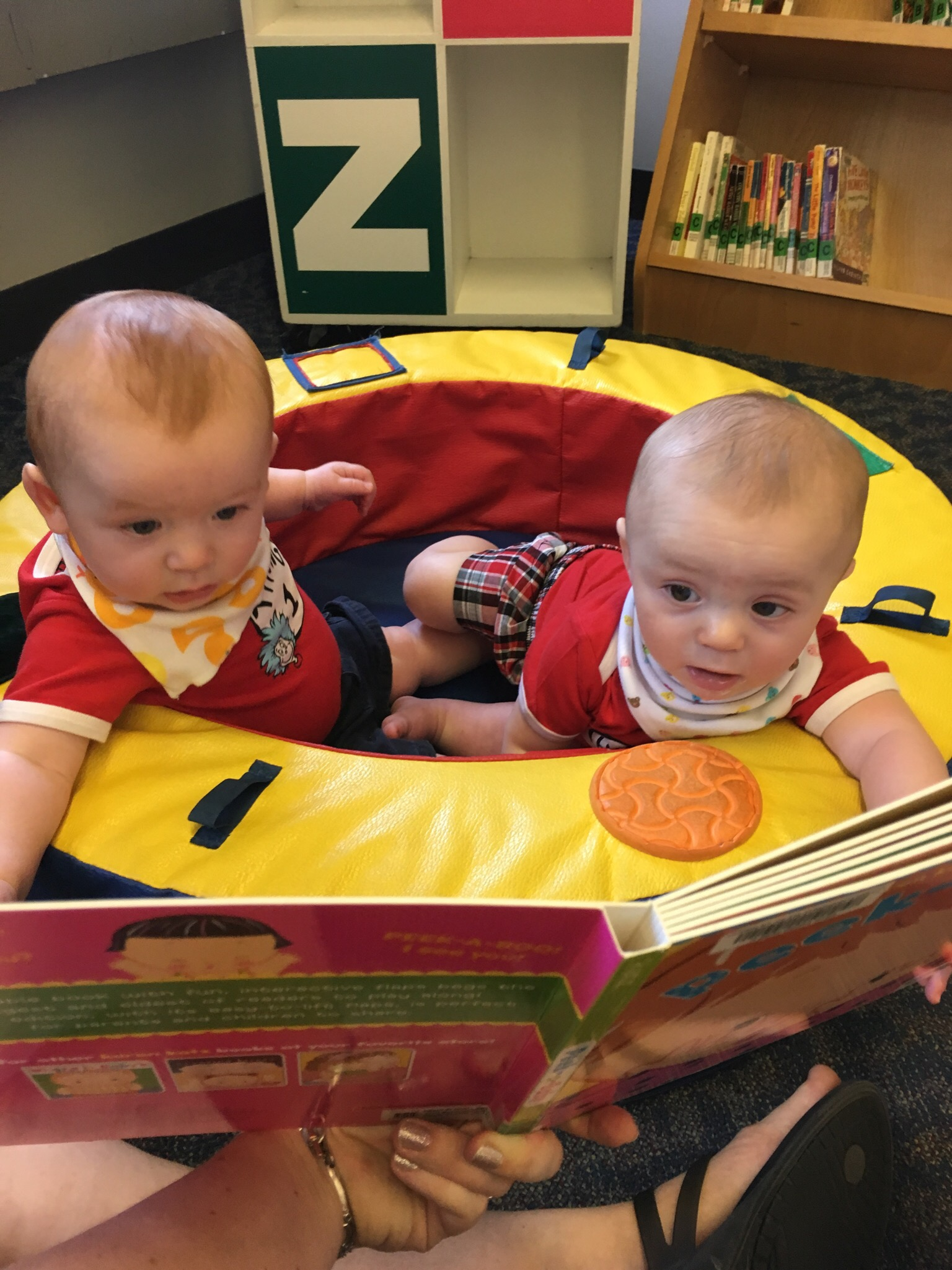 Joshua & Julian, first trip to play at the library