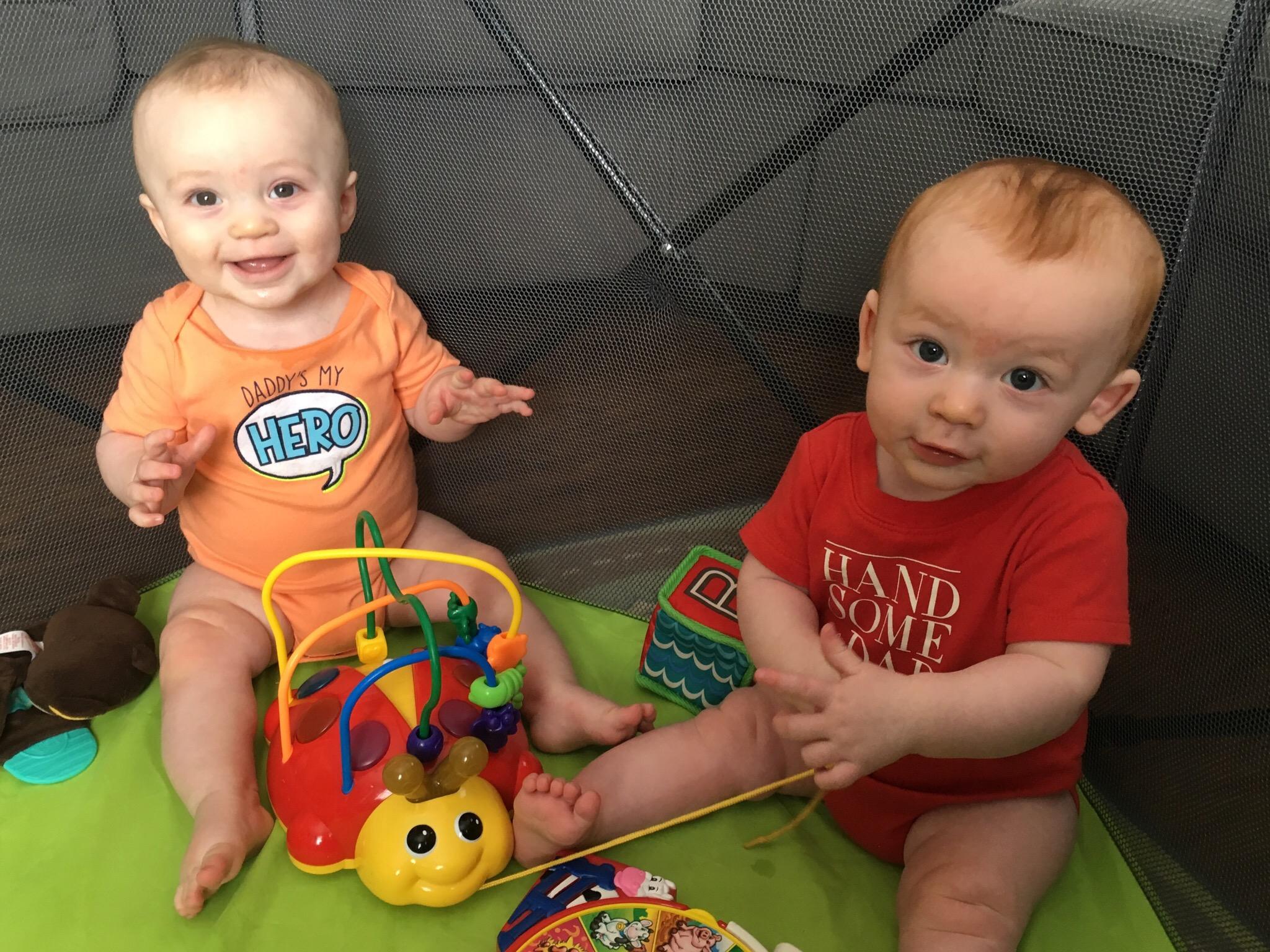 Julian & Joshua, 7 months old, sporting their Daddy shirts