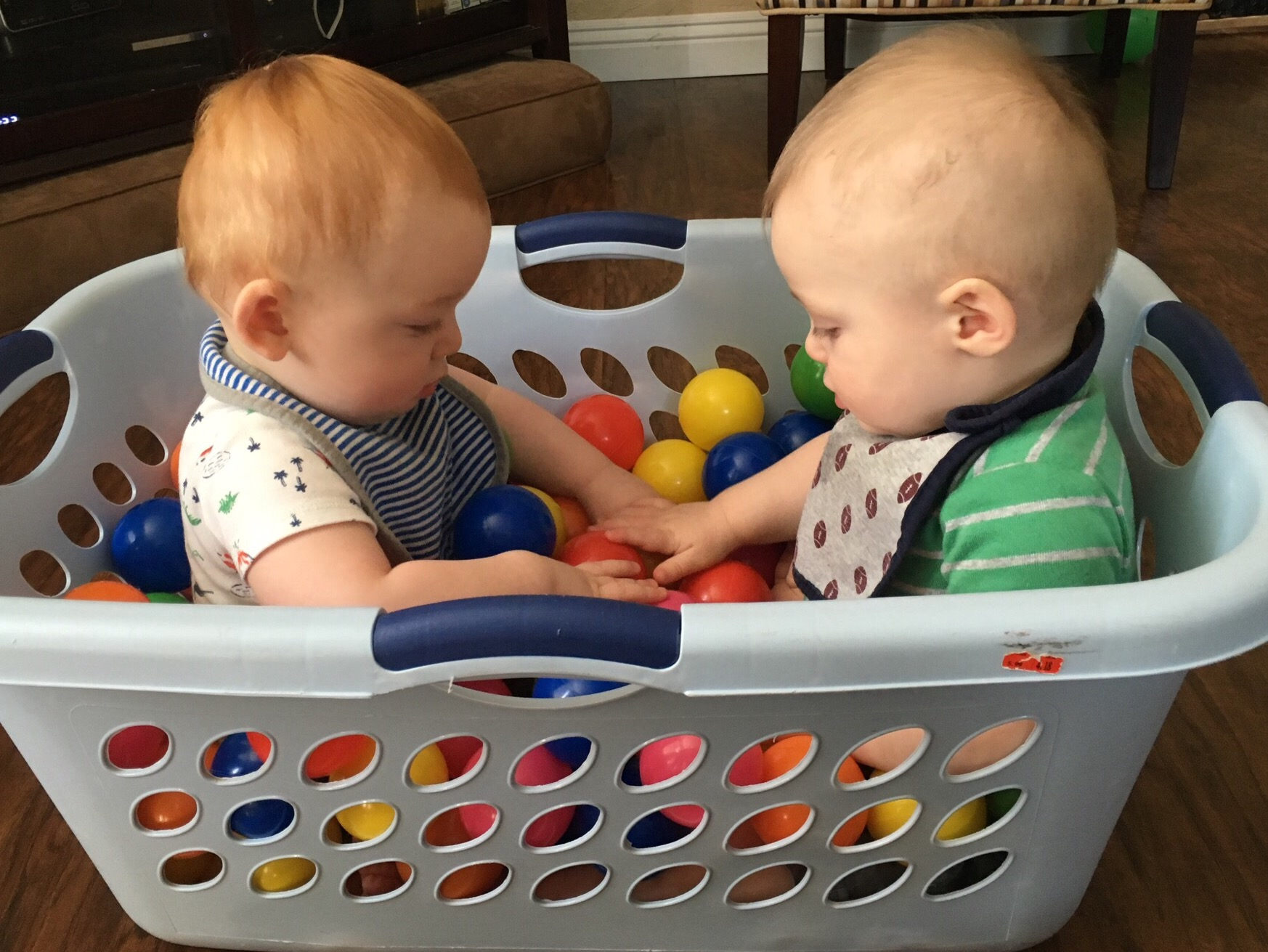 Joshua & Julian, 10 months old, in our homemade ball pit