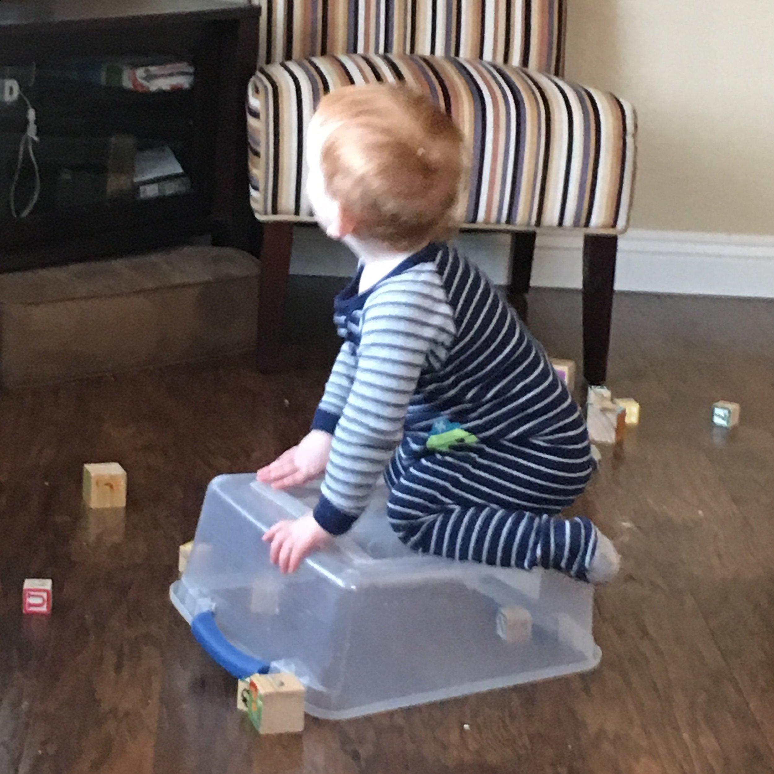Joshua on a box.