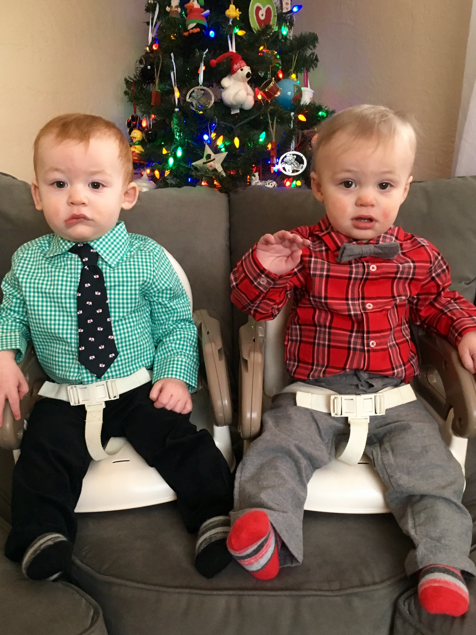 Joshua and Julian would not smile for a posed Christmas photo.