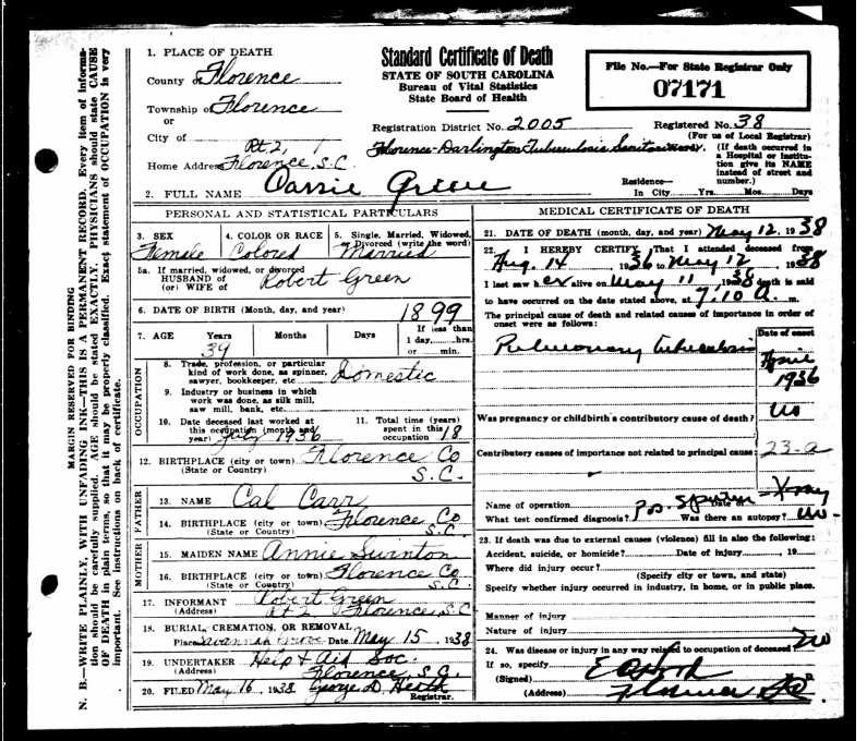 Here is the elusive death certificate that Sonia Walker found for me.
