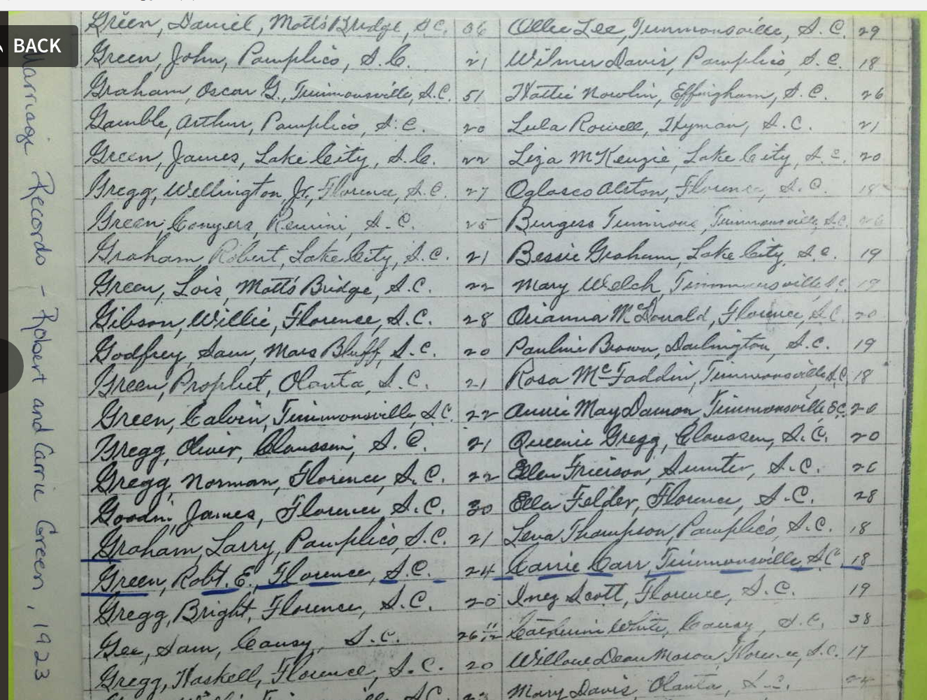 Robert Green and Carrie Carr listed in the Florence County, SC Marriage index, September 1923.