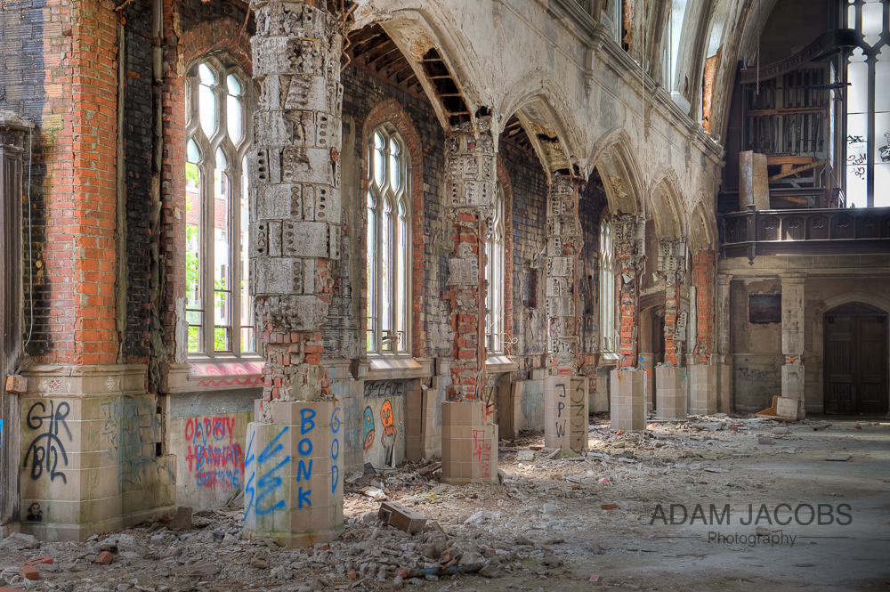 A better view of the destruction and warping of the pillars inside the abandoned St Agnes Church, Detroit. Michigan.