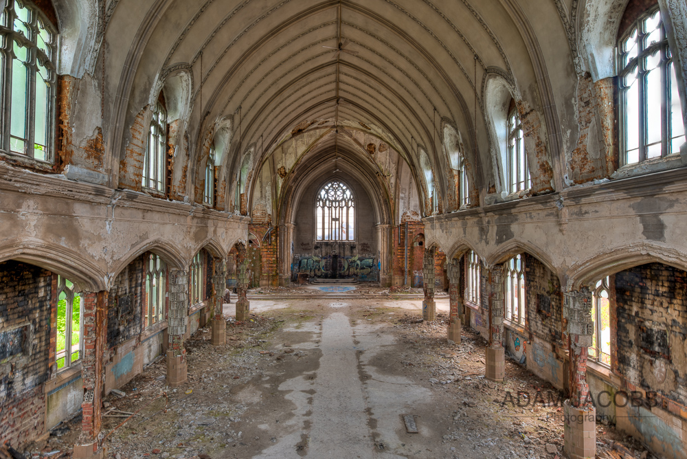 A view from the balcony of the abandoned St Agnes Church in Detroit, Michigan showing the extent of the damage to the space.