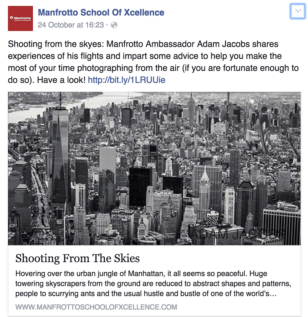 Adam Jacobs Aerial Photography Manfrotto New York