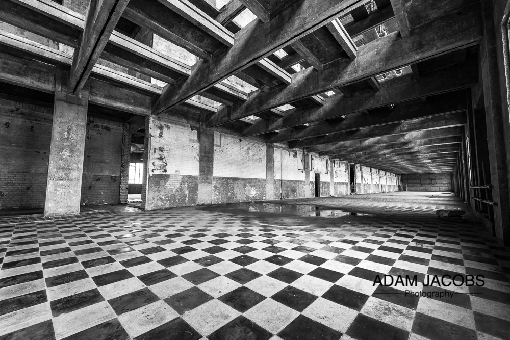 Adam Jacobs Fine Art Photography - Abandoned Warehouse in Black and White, East London.