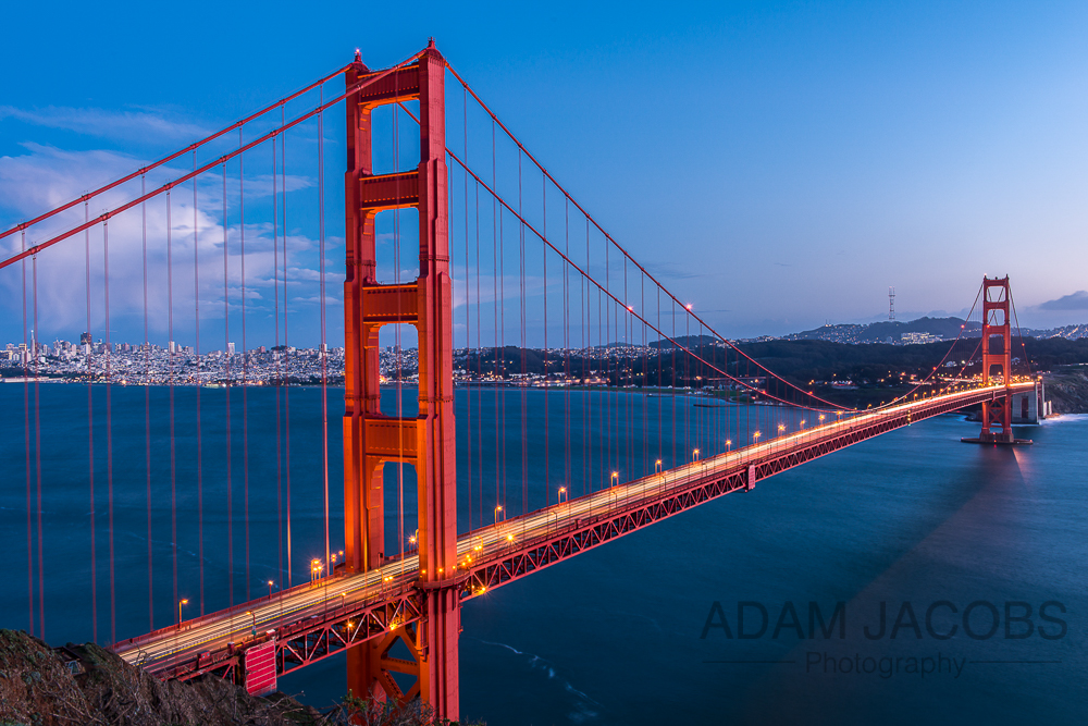 Golden Gate Bridge, San Francisco at Twilight - Photographed from the Marin Headlands