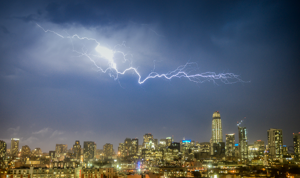 San Francisco Lightening Bolt Cityscape Salesforce Tower Adam Jacobs Photography California