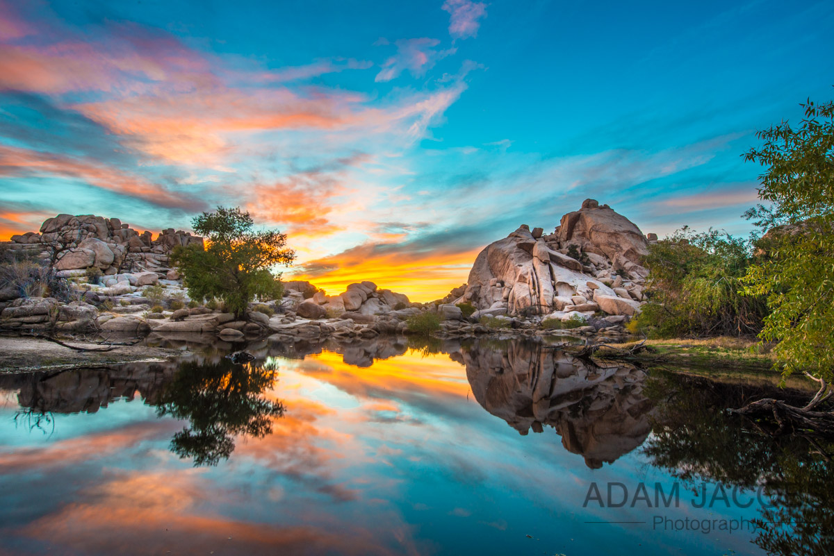 One of my shots from the amazing sunset at Barker Dam in Joshua Tree National Park!