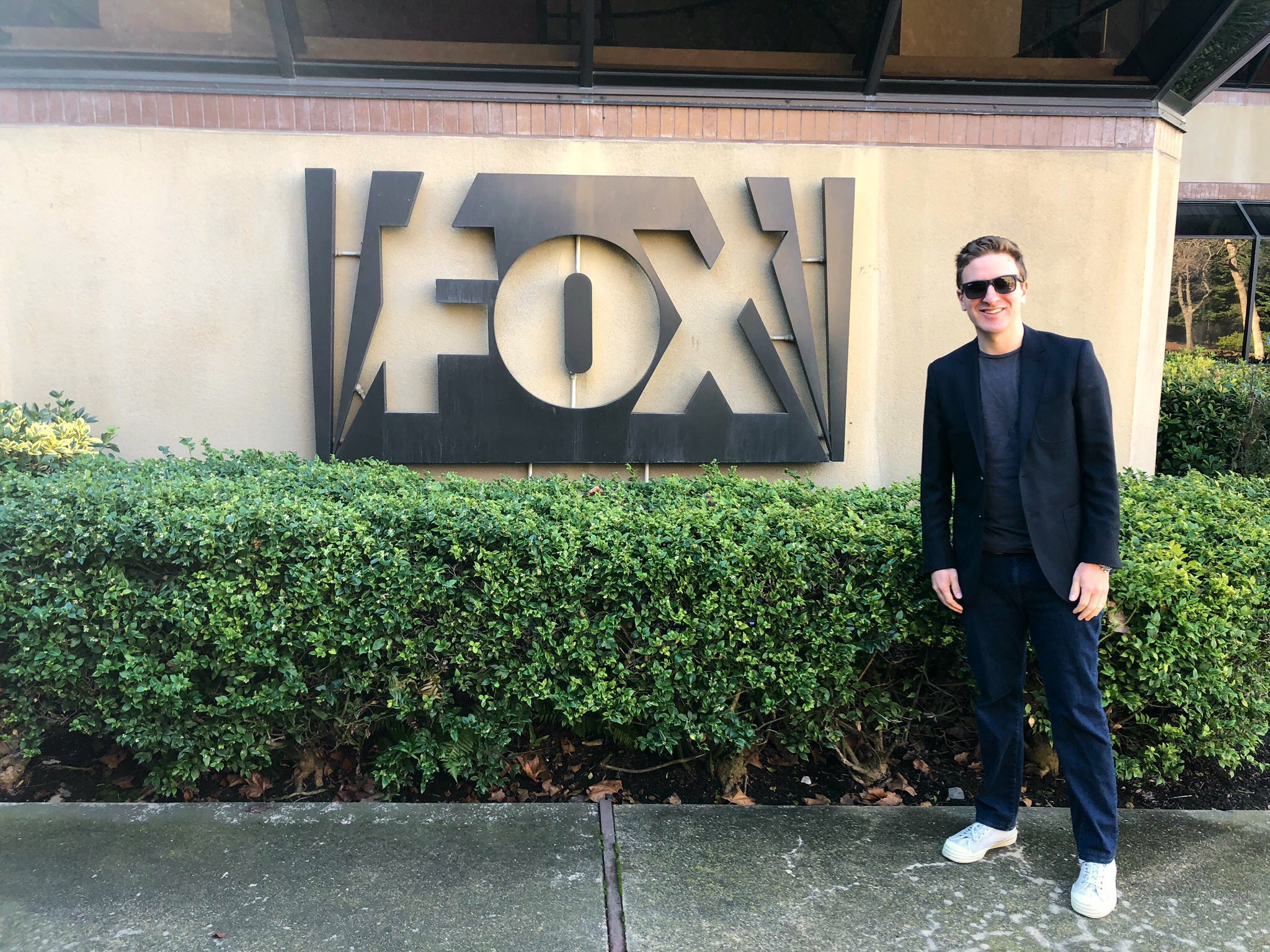 Adam Jacobs outside the studios of Fox before being interviewed on his photography and career.