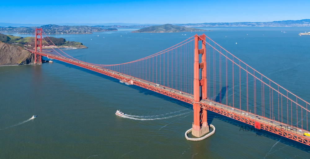A beautiful, clear day in San Francisco made for the perfect conditions for an aerial photograph of the Golden Gate Bridge with Marin, Tiburon, Salsultio in the background. The versatility of using a 24-70mm lens gave me the otpion to either come in tight or get the whole bridge in the frame as with this shot.