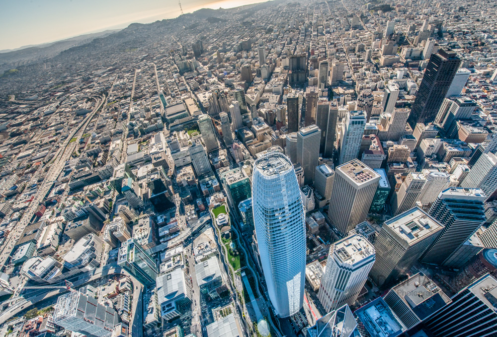 Always look fo unique oblique angles when shooting out of helicopters. Here's the Salesforce Tower looking South all the way to Twin peaks.