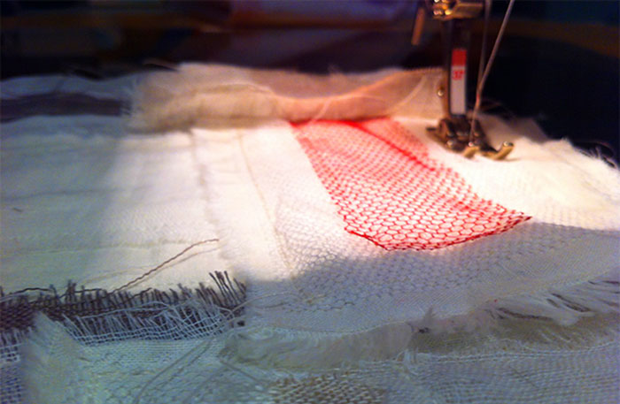 Stitching pieces of linen together for a textile art piece | Cloudberry Lane
