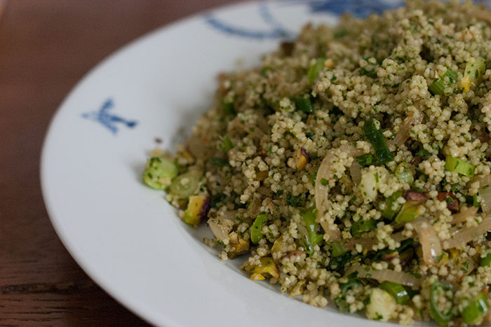 herb couscous with toasted pistachios makes a great vegan lunch or side salad | Cloudberry Lane