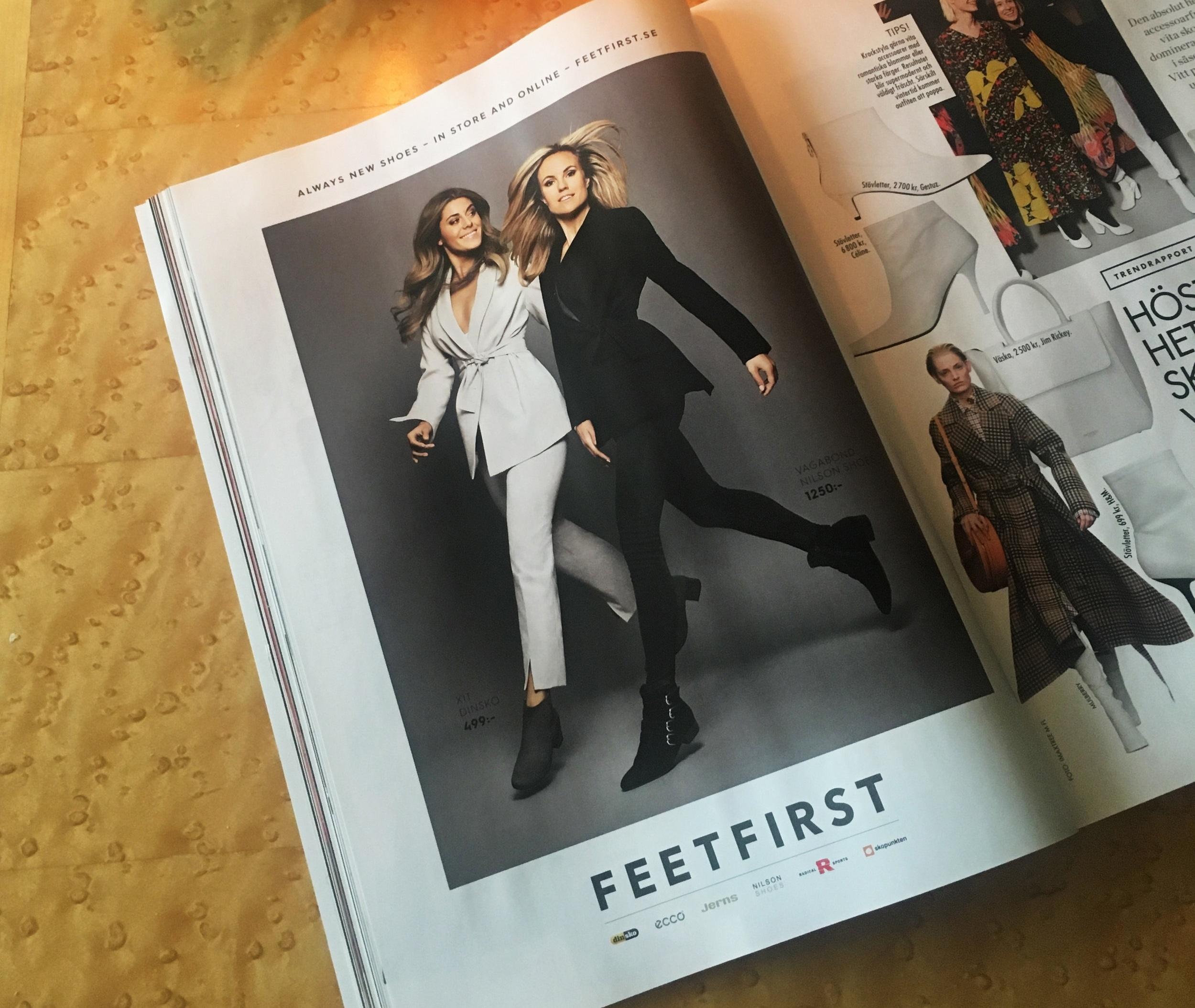 Feetfisrt AD in Elle Magazine Sweden, October 2017