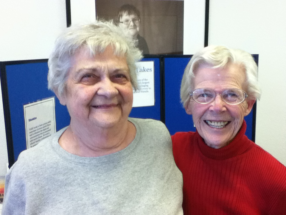 NAMI Northern Lakes founder Audrey Kissinger (left) with NAMI co-founder Bev Young
