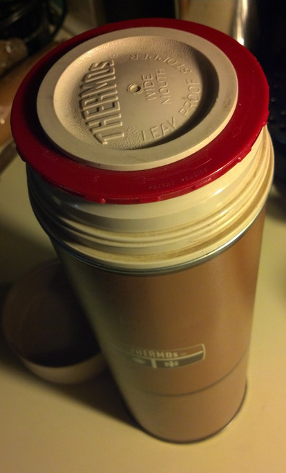 Grandpa Pederson's old thermos. With 78% more squeakage!