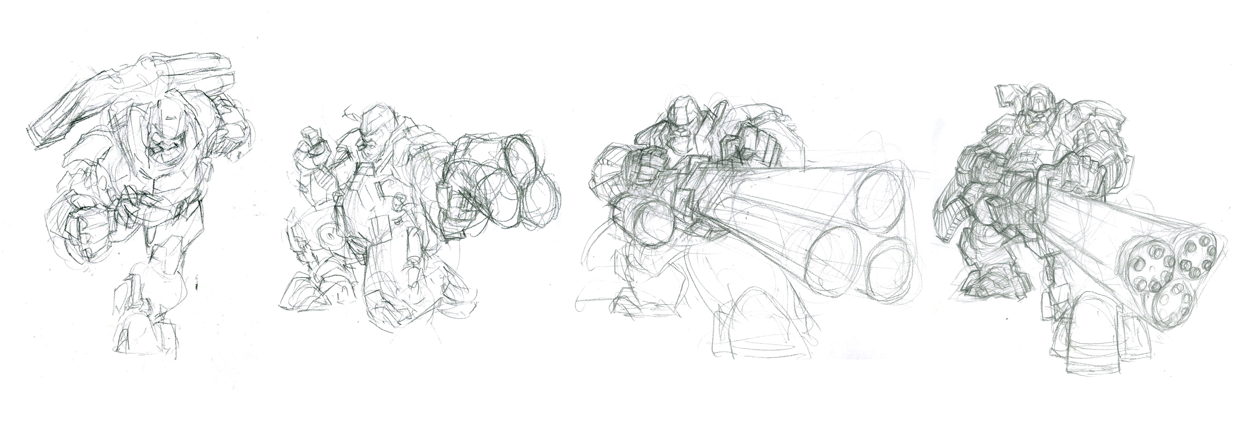 The first round of quick sketches for Hound. I wanted to put the gatling gun in sooooo bad.